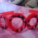 Checkered black and red headband