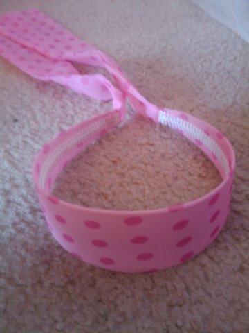 Light pink headband with hot pink poka dots