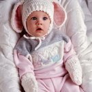 X328 Crochet PATTERN ONLY Bassinet Skirt Baby Blanket Bear Toy & Bunny Ears Hat