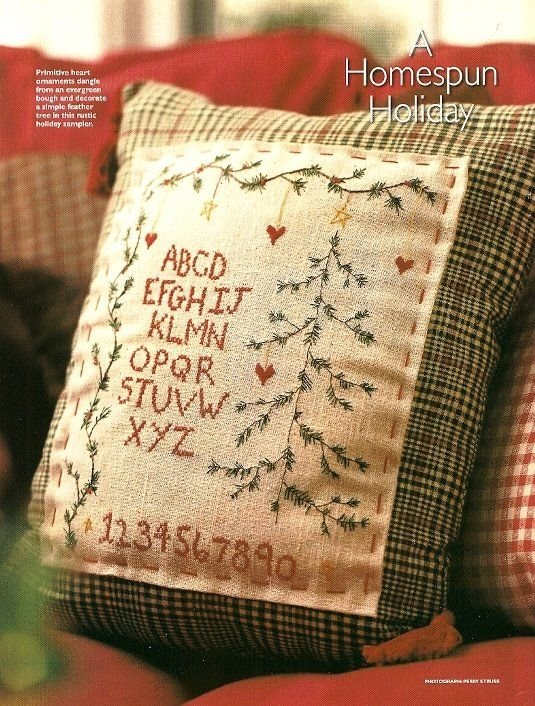W437 Embroidery PATTERN ONLY Primitive Christmas Tree Sampler Pattern Chart