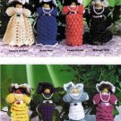 X477 Crochet PATTERN ONLY Set of 8 Clothespin Ladies Doll Christmas Ornaments