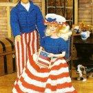 W452 Crochet PATTERN ONLY Patriotic Fashion Doll Dress Suit Hat Barbie Ken Patte