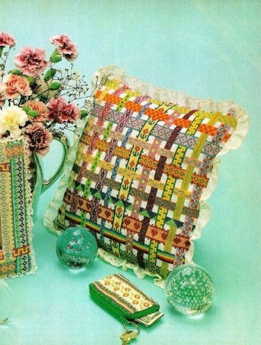 X849 Cross Stitch PATTERN ONLY Ribbon Like Pillow Sachet Frame & Key Case Charts