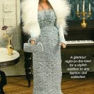 Y525 Crochet PATTERN ONLY Fashion Doll Crochet Blue Beaded Evening Dress Pattern