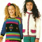 Y638 Knit/Crochet PATTERN ONLY 2 Child Sweaters Watermelon/Bobbles Pattern
