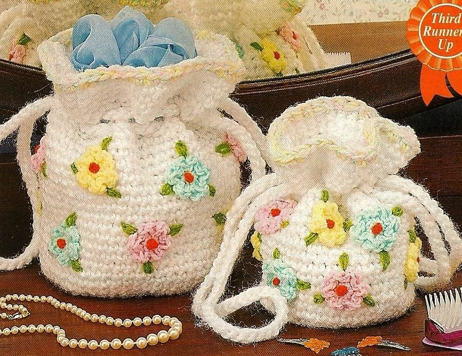 Y735 Crochet PATTERN ONLY Mother and Daughter Floral Purse Patterns