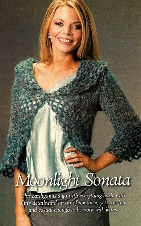Y780 Crochet PATTERN ONLY Moonlight Sonata Lacy Cardigan Sweater Pattern