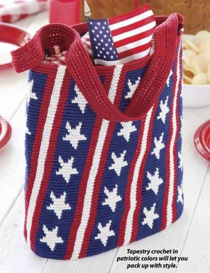 Y866 Crochet PATTERN ONLY Stars and Stripes Tote Bag Pattern