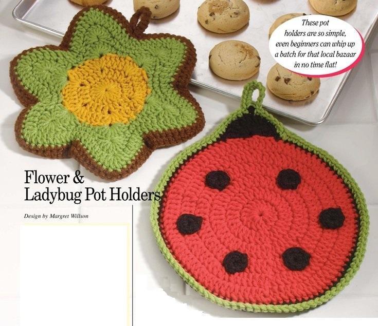 W191 Crochet PATTERN ONLY Flower & Ladybug Pot Holders Potholder Pattern