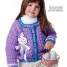W000 Crochet PATTERN ONLY Little Girls Bunny & Bows Cardigan Sweater Pattern Eas