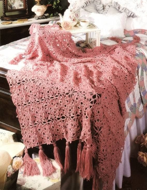 Y200 Crochet PATTERN ONLY Romantic Lace Afghan Throw Pattern