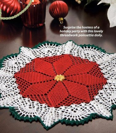 X293 Crochet PATTERN ONLY Poinsettia Doily Pattern & Bonus