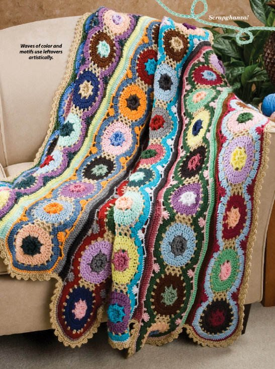 Y005 Crochet PATTERN ONLY Waves of Color Scrap Afghan