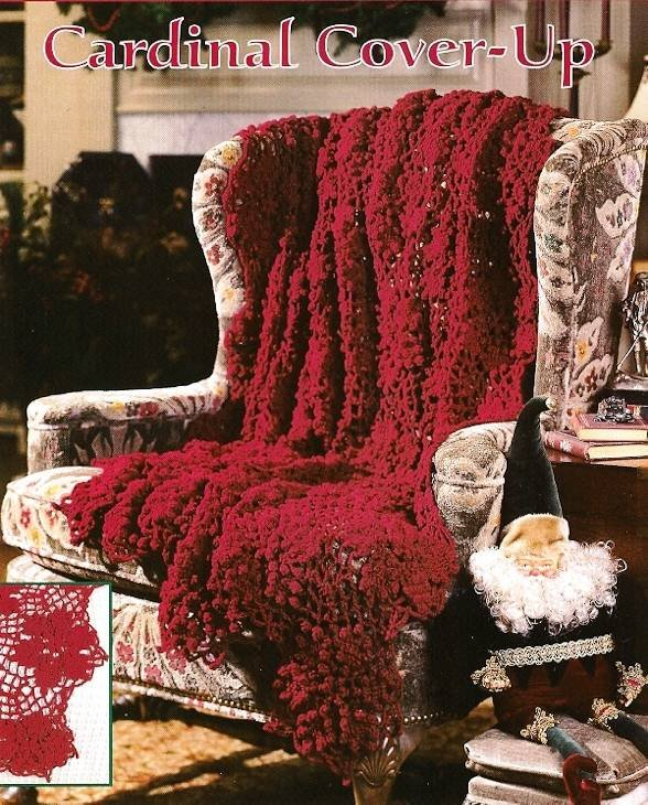 Y559 Crochet PATTERN ONLY Lacy Cardinal Red Cover-Up Afghan Pattern