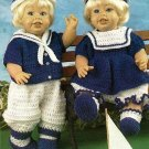 Y532 Crochet PATTERN ONLY Sailor Doll Boy & Girl Outfit Patterns