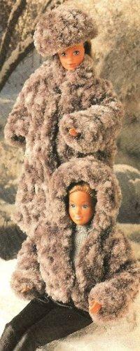 X951 Crochet PATTERN ONLY Fashion Doll Fur Coat Hat, Hooded Jacket Barbie