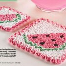 W044 Crochet PATTERN ONLY Watermelon Hot Pad & Coaster Patterns Summer