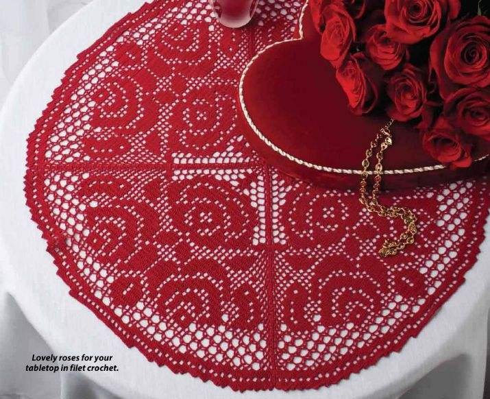 W062 Filet Crochet PATTERN ONLY Round Rose Table Cover Doily Pattern