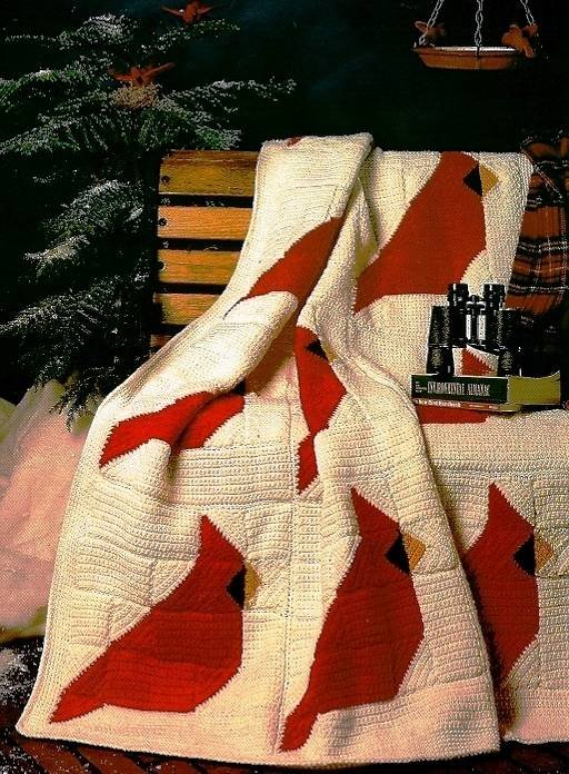 Y558 Crochet PATTERN ONLY Cardinal Quilt Motif Afghan Pattern