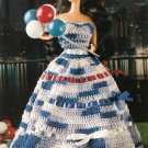 Y362 Crochet PATTERN ONLY Patriotic Fashion Doll Gown Pattern Barbie