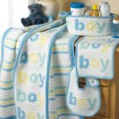 Y136 Crochet PATTERN ONLY Baby Boy Blanket Bib Basket and Burp Pad Set