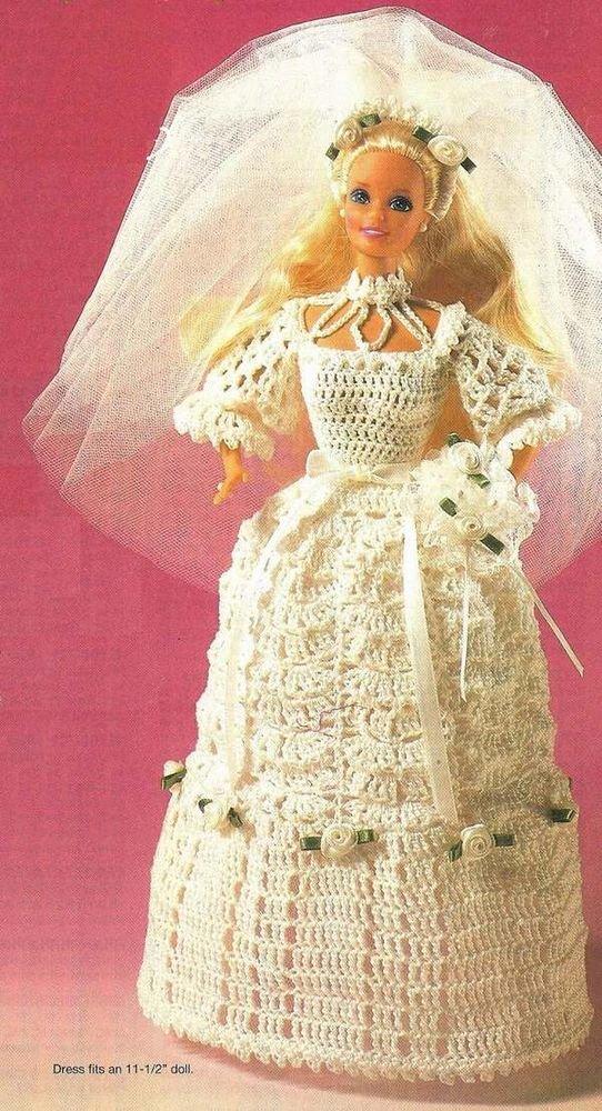 Crochet Pattern Wedding Doll : Y003 Crochet PATTERN ONLY An Heirloom Wedding Gown Barbie ...