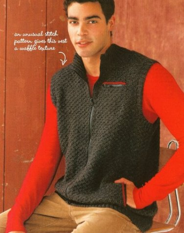 X795 Crochet PATTERN ONLY Rugged Winter Zippered Vest