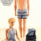 X611 Crochet PATTERN ONLY Fashion Doll Beach Pool Attire Pattern Barbie Ken