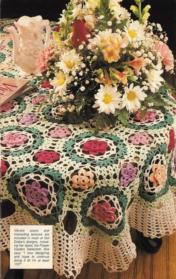 X530 Crochet PATTERN ONLY Flower Garden Tablecloth Pattern