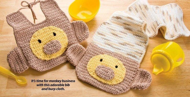 W364 Crochet PATTERN ONLY Monkey Baby Bib and Burp Cloth Pattern
