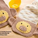 W364 Crochet PATTERN ONLY Monkey Baby Bib and Burp Cloth Pattern