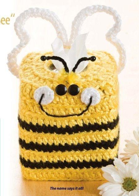 W367 Crochet PATTERN ONLY Cute Bumblebee Tissue Box Topper Pattern