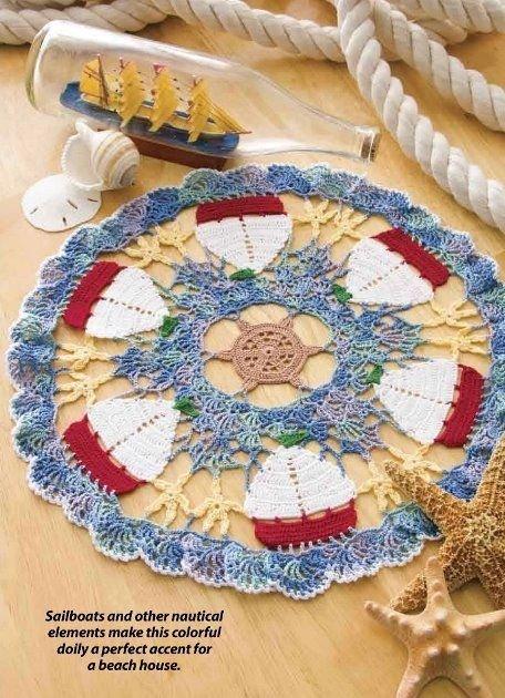 W374 Crochet PATTERN ONLY Fun Sailboat & Starfish Doily Pattern