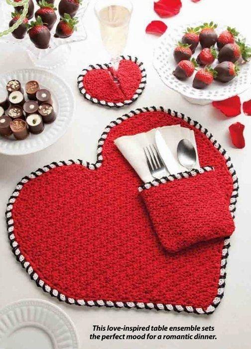 W306 Crochet PATTERN ONLY Heart Shape Place Mat Napkin Holder Coaster Pattern