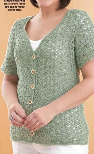 W205 Crochet PATTERN ONLY Lacy Little Cardigan Short Sleeve Sweater Pattern