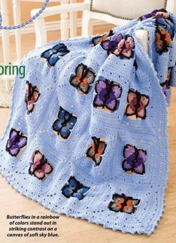 W208 Crochet PATTERN ONLY Butterflies of Spring Afghan Pattern Butterfly
