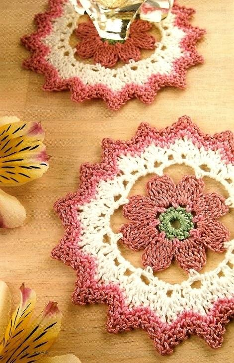 W218 Crochet PATTERN ONLY Quick Crochet Floral Coasters Pattern