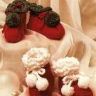 Y529 Crochet PATTERN ONLY 2 Pairs Holiday Baby Booties Patterns