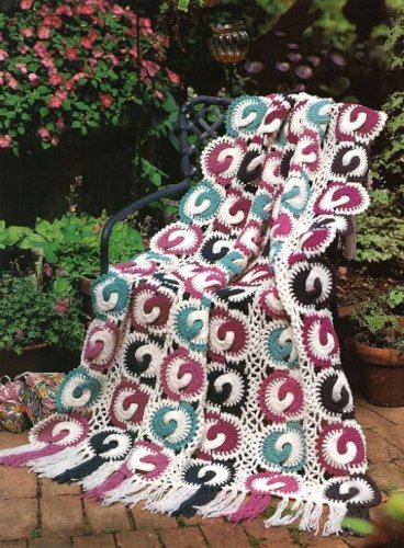 Y210 Crochet PATTERN ONLY Funky Friendship Rings Afghan Throw Pattern