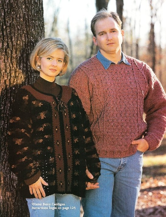 X618 Crochet PATTERN ONLY 2 Sweater and 1 Vest Pattern Cardigan & Pullovers