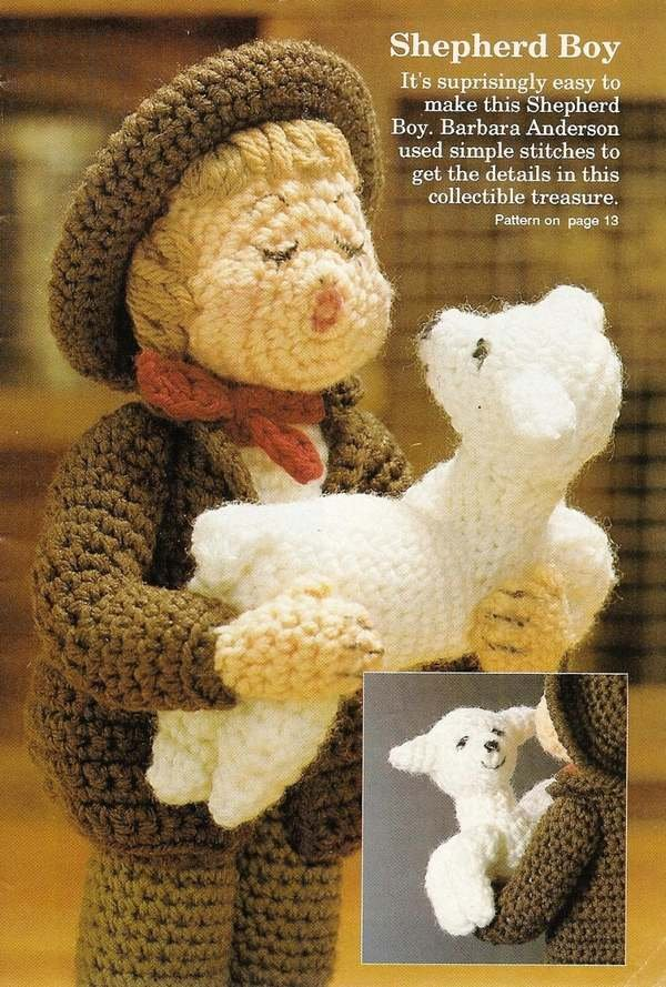 X733 Crochet PATTERN ONLY Hummel Type Shepherd Boy with Lamb Doll Pattern