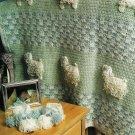 X167 Crochet PATTERN ONLY Loopy Lambs Blanket & Booties Pattern