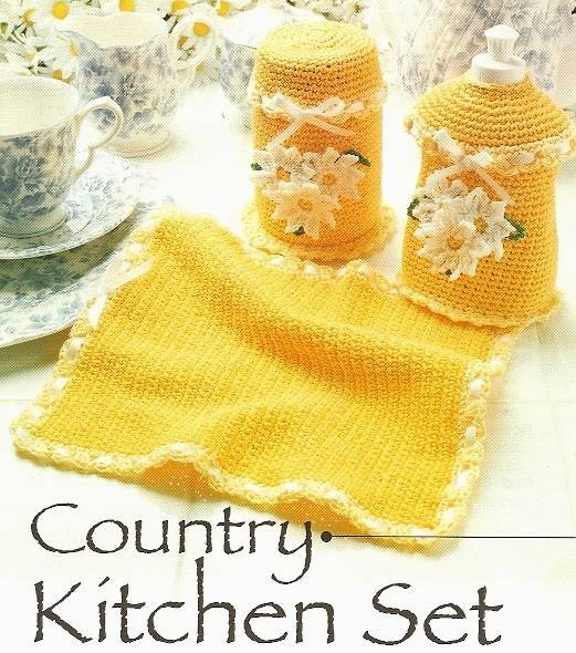 X619 Crochet PATTERN ONLY Daisy Country Kitchen Set & 2 Placemat Pattern
