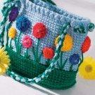 W051 Crochet PATTERN ONLY Flower Garden Purse Tote Bag Pattern