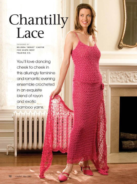 Y916 Crochet PATTERN ONLY Chantilly Lace Evening Attire Shawl Skirt Top Patterns