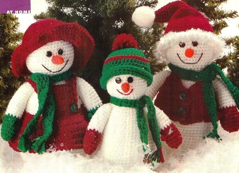 X330 Crochet PATTERN ONLY Family of 3 Snowmen Doll Toys Decortions Patterns