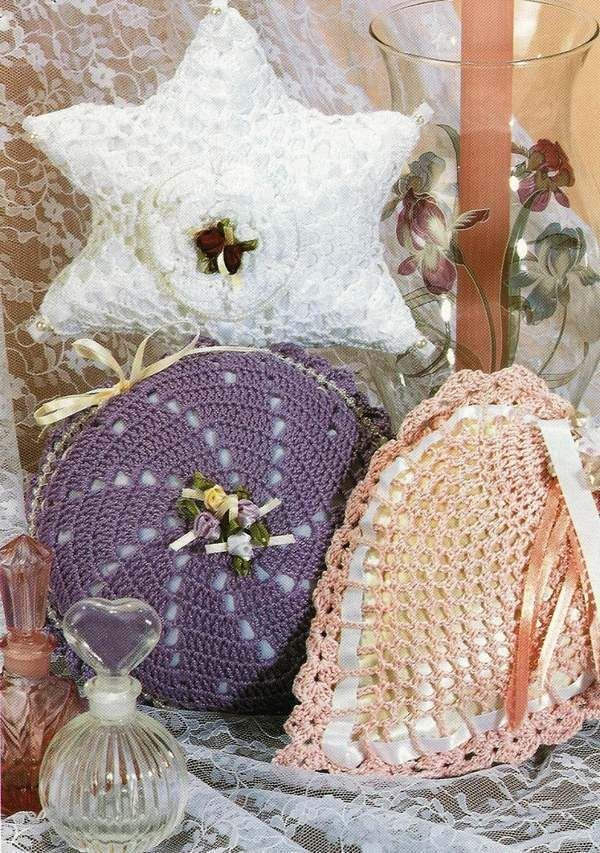 X820 Crochet PATTERN ONLY Sachet Pillow Pattern Star Heart Round