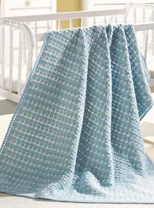 W136 Crochet PATTERN ONLY Fleur-de-Lis Baby Afghan Pattern