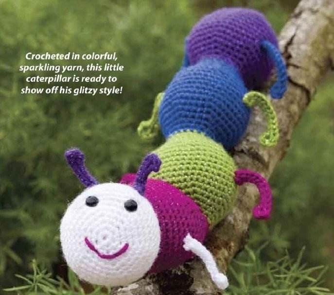 W248 Crochet PATTERN ONLY Glitterbug Caterpillar Bug Toy Pattern