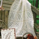 W197 Filet Crochet PATTERN ONLY Autumn Leaves Afghan Throw Pattern